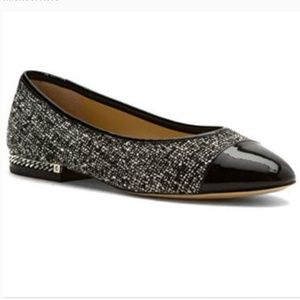 Michael Kors MK Sabrina flats shoes tweed chain
